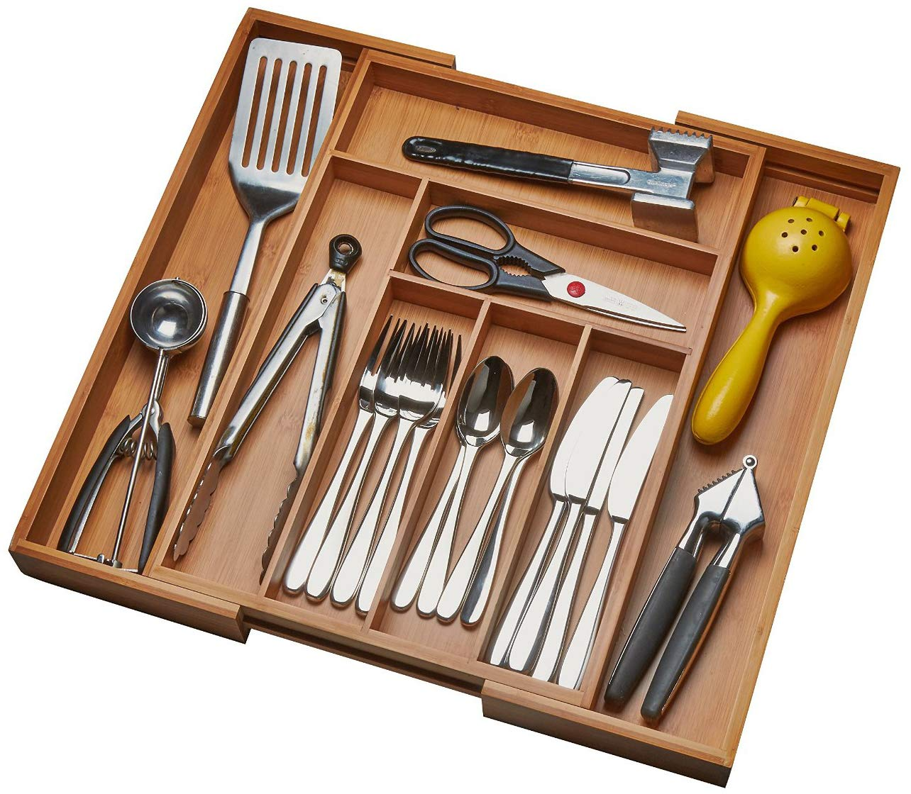 Kitchen Drawer Organizer, Adjustable Drawer Dividers to Fit Snugly Into Any Kitchen Drawer. Attractive Bamboo Wood Flatware, Cutlery and Utensil Tray is Also a Great Drawer Organizer Around the Home. by Handy Laundry (Image #2)