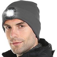 OFUN Cappello con LED Incorporato, USB Ricaricabile 4 LED Cappello di Cappuccio per Campeggio, Feste, Pesca, attività all' Aperto
