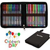 Artist Glitter-Metallic-Neon-Pastel Coloring Gel-Pens with Case - 24 Individual Colors, 50% More Ink, Premium Colored Ink Gel Pens Set with Carrying Case by MemOffice, Ideal for Adult Coloring Books