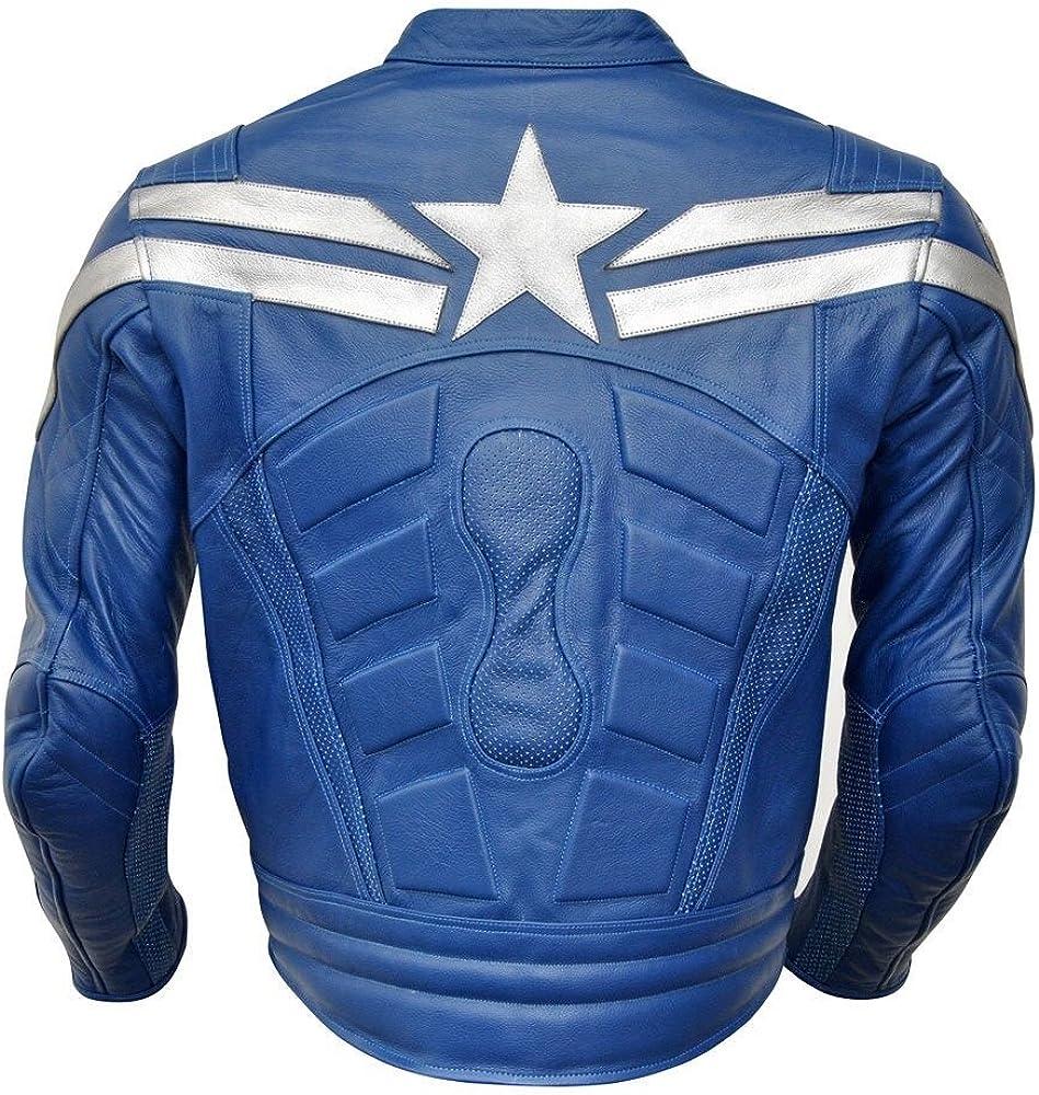 LEATHERAY Mens Fashion Motorbike Captain America Real Leather Jacket Blue