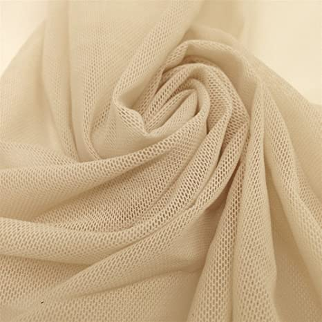 """White SOLID POWER MESH NYLON SPANDEX FABRIC 58/""""//60/"""" WIDTH SOLD BTY"""