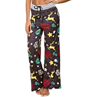 NEWCOSPLAY Women's Comfy Pajama Pants Floral Print Drawstring Palazzo Lounge Wide Leg Pants
