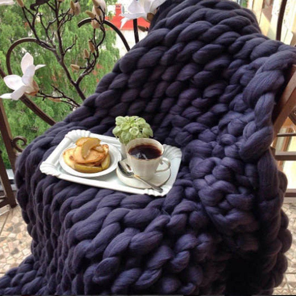 47x71in Chunky Blanket Wool Blanket 100 % Merino Wool Knit Blanket Giant Throw Super Big Bulky Arm Knitting Home Decor Birthday Gift by Cozy Chunky Blanket (Image #4)