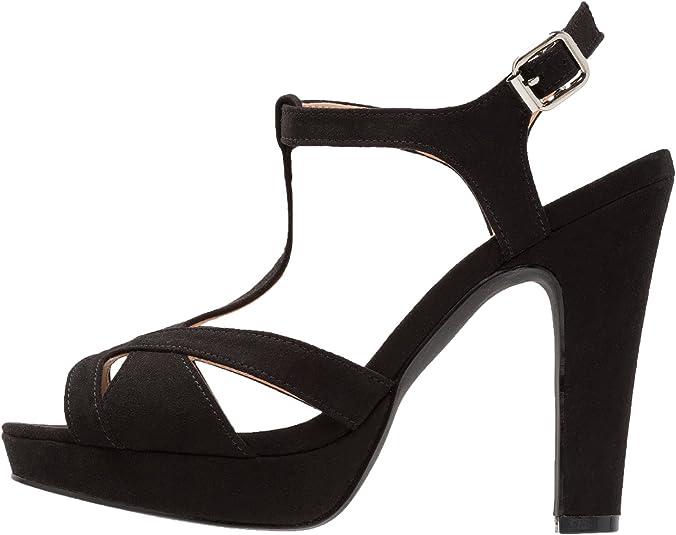 Anna Field Sandalias de Gamuza para Mujer Sandalias Elegantes de Fiesta con Tacón Alto Cómodos Zapatos de Plataforma Tacones de Piel de Ante