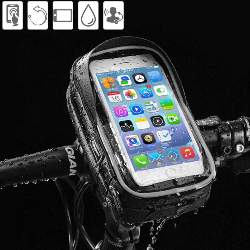 Handytasche für das Fahrrad, wasserdicht, 360Grad drehbar, universell, auf vertikalen & horizontalen Stangen montierbar, passend für Smartphones bis 6 Zoll (15,2 cm) 360Grad drehbar Bicycle Phone Bag