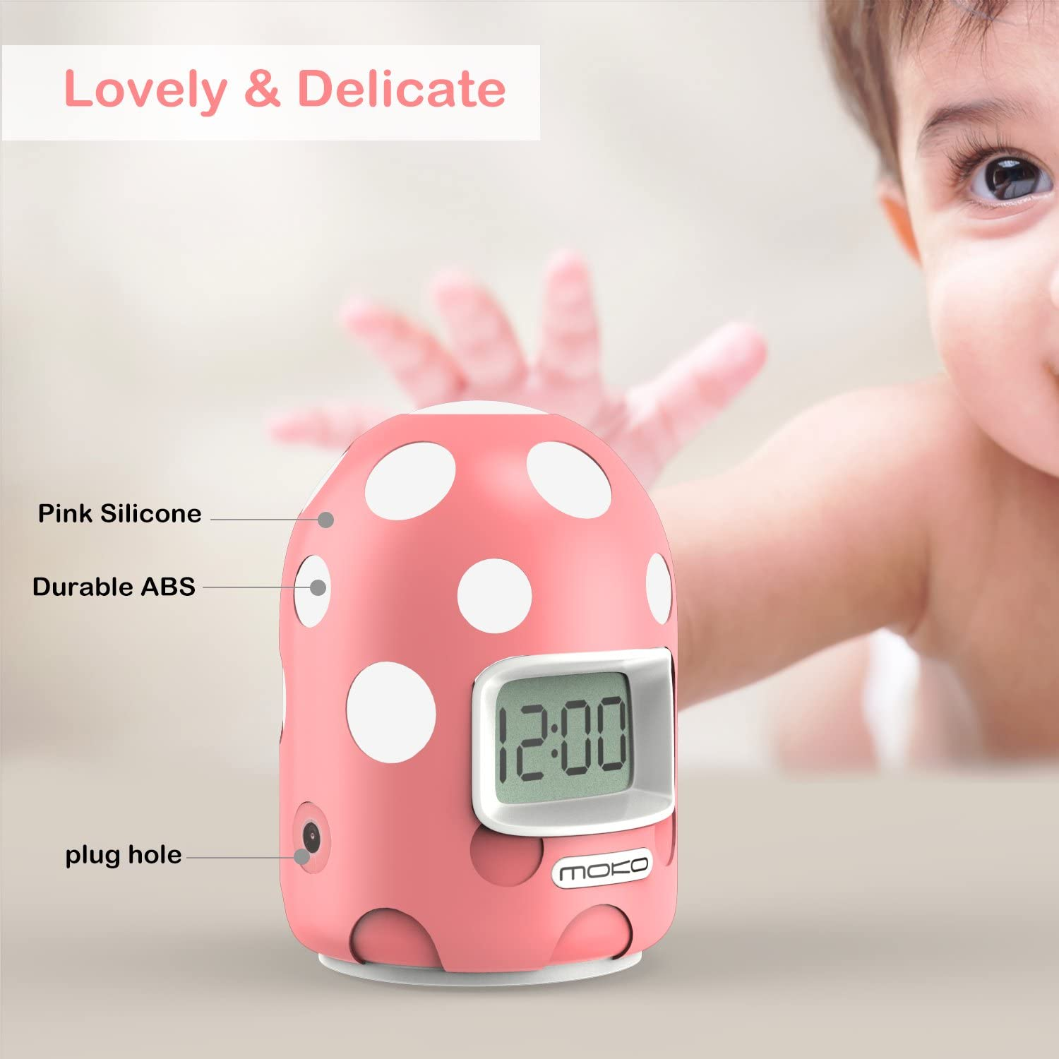 Blue Mini LCD Display Kids Clock Color Changing Night Light Travel Alarm Clocks Electronic Bedside Table Lamp with Snooze Backlight Function for Home Office MoKo Digital Alarm Clock