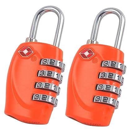 Vectri 2 x TSA Candados de Combinación, 4 dígitos Combinación de Cerraduras para Puerta de