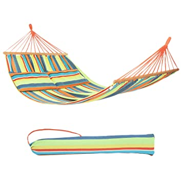 Sleeping Bags Outdoor Anti-side Canvas Swing Camp Single Double Camping Portable Folding Hammock Rainbow Striped Wooden Hammock Camping & Hiking