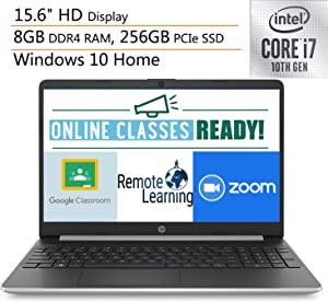 "2020 HP 15 15.6"" Laptop Computer, 10th Gen Intel Quard-Core i7 1065G7 up to 3.9GHz, 8GB DDR4 RAM, 256GB PCIe SSD, 802.11AC WiFi, Microphone, Webcam, Online Class Ready, Windows 10, iPuzzle Mousepad"