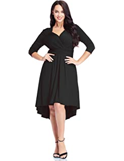 Lookbook Store Womens Plus Size High-Low Cocktail Party Skater Dress