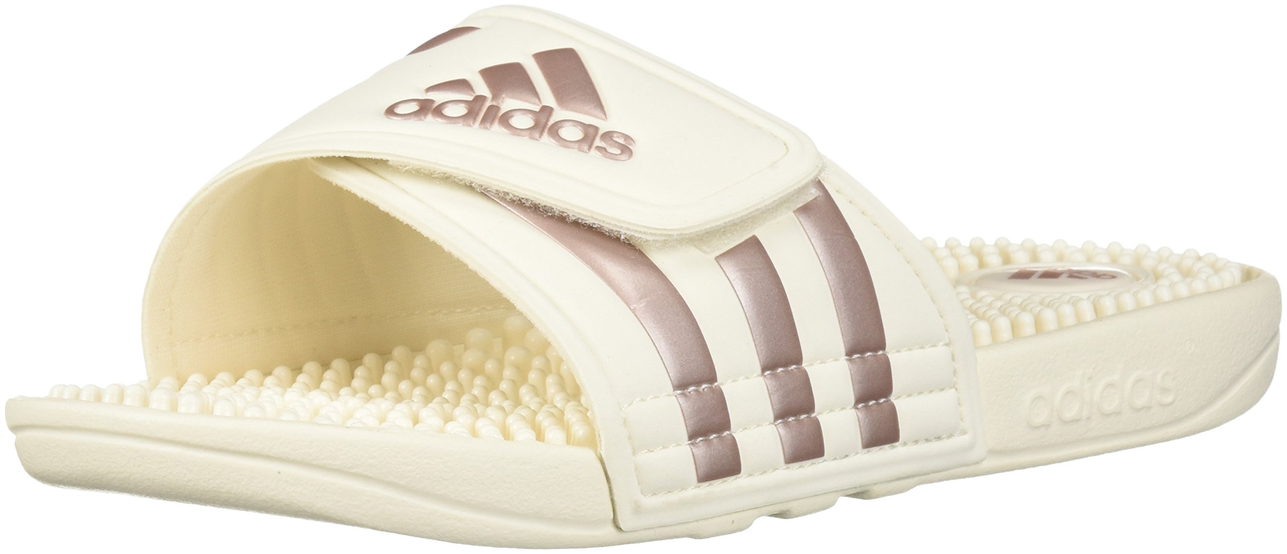 adidas Women's Adissage Slide Sandal, Cloud White/Vapour Grey Metallic/Cloud White, 12 M US