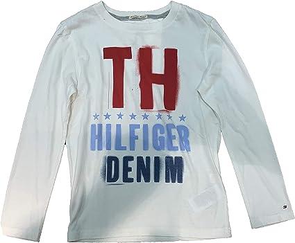 Tommy Hilfiger - Camiseta de Manga Larga Flag, niño, Color: Blanco (8): Amazon.es: Ropa y accesorios