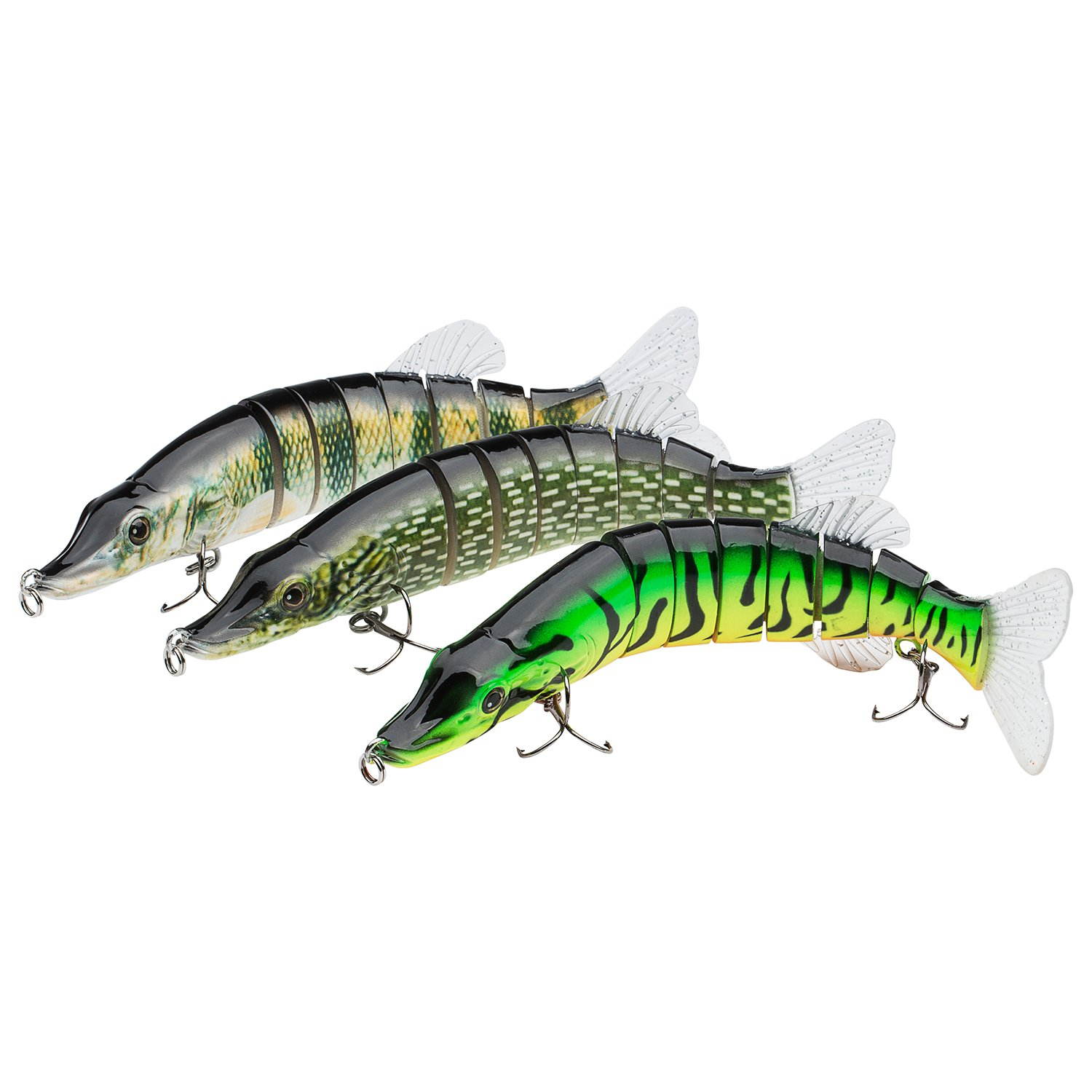 Bassdash Swimpike Multi Jointed Swimbaits Bass Fishing Lure Hard Body Soft Fins 8'' 2-1/2oz, 4 Colors, Pack of 3 Colors (FNP)