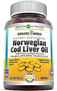 Amazing Omega Norwegian Cod Liver Oil 1000 Mg, Softgels (Lemon, 250 Softgels)