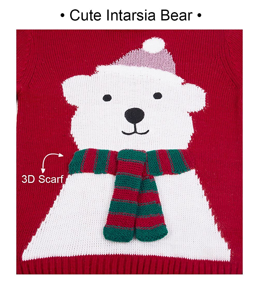 Benito /& Benita Christmas Sweater Crew Neck Pullover Xmas Sweater with Bear for Boys//Girls 3-13Y