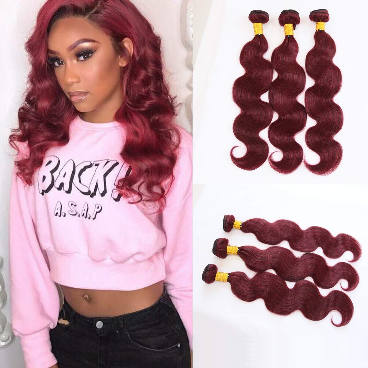 New Free Shipping Dorabeauty Human Indefinitely Hair Bundles #99J Wine Wave 10 Body Red