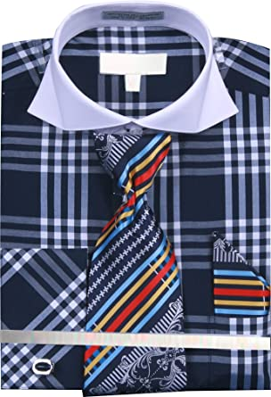 Men/'s Checker Pattern Two Tone French Cuff Shirts with Cuff Links