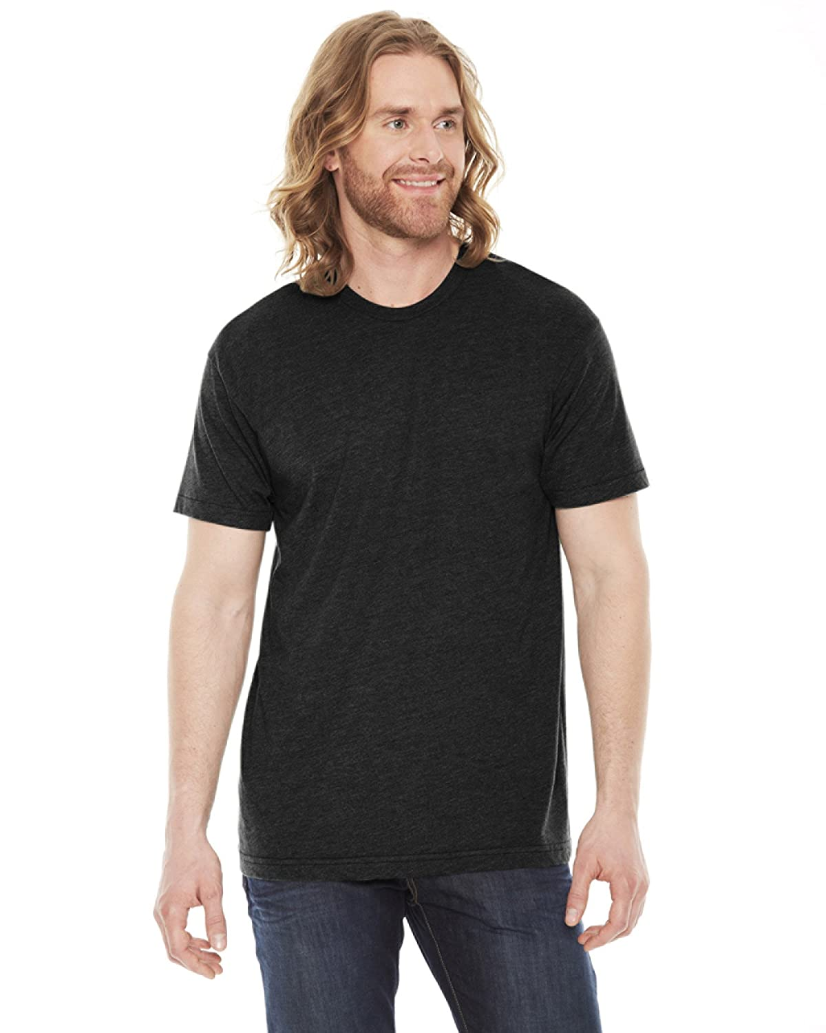 American Apparel Unisex Poly/cotton Short Sleeve Crew Neck T - Heather Black - S