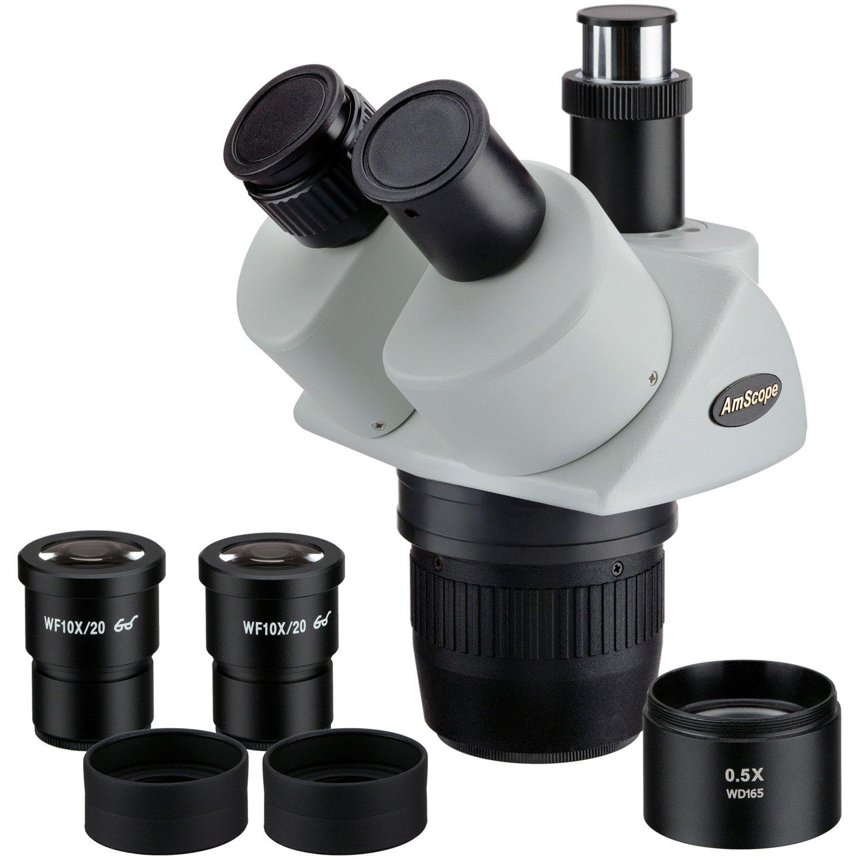 AmScope 10x-20x-40x Super Widefield Stereo Trinocular Microscope Head