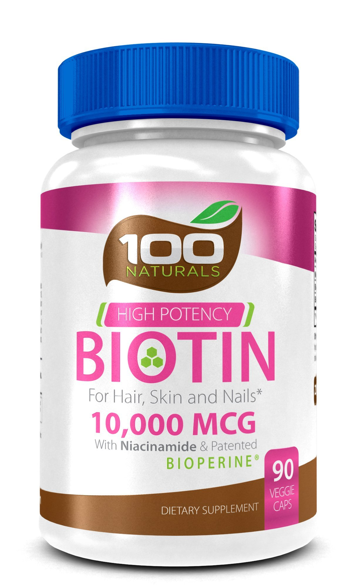 Pure Biotin 10,000 MCG - Maximum Strength Vitamin B - Complex Supplement to Reduce Hair Loss, Improve Hair, Skin and Nail Health for Women and Men– 3 Month Supply- By 100 Naturals