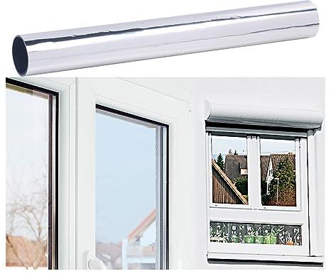 infactory Fensterfolie: Selbsthaftende Isolier-Spiegelfolie mit Sicht-/UV-Schutz, 40 x 200 cm (UV Fensterfolie)