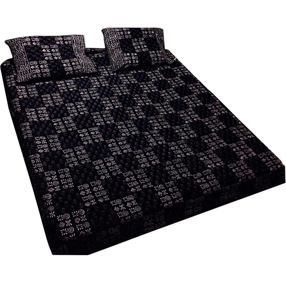 Ethnic Block Print Black & White Tone Cotton Bedspread Bedding 3 Pcs Set King Size