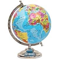 Balliatic Educational Rotating 8 inch World Globe with Nickel Plated Metal Base / World Globe / Home Decor / Gift Item / Political Globe / Educational Globe
