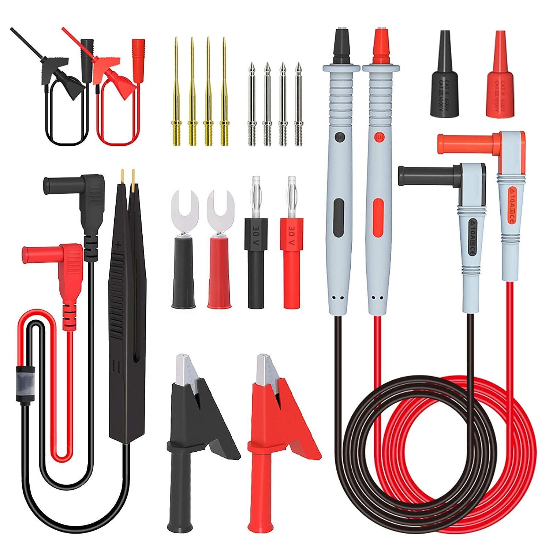 21-in-1 Multimeter Test Lead Kit Electrical Alligator Clip Test Probe Plug Set