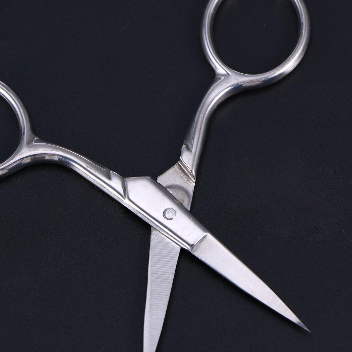 Steel Eyebrow Scissors Nose Hair Scissors Beard Eyebrow Nose Facial Hairs False with Sharp Edge Blades
