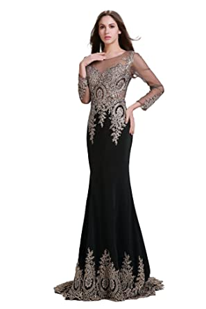 Fanciest Womens Beaded Embroidery Long Evening Dresses with Sleeves Prom Gowns Black US2
