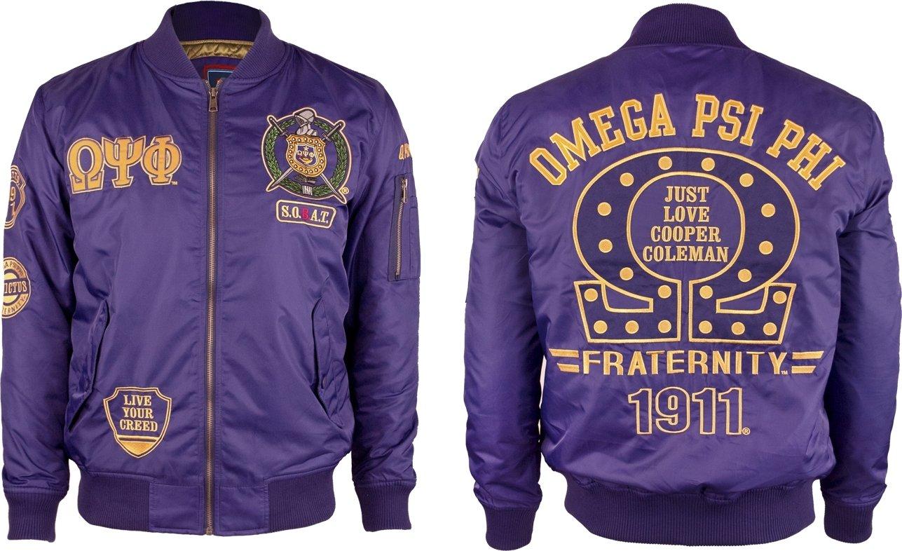 Omega Psi Phi Divine 9 Bomber Flight Mens Jacket [Purple - L]
