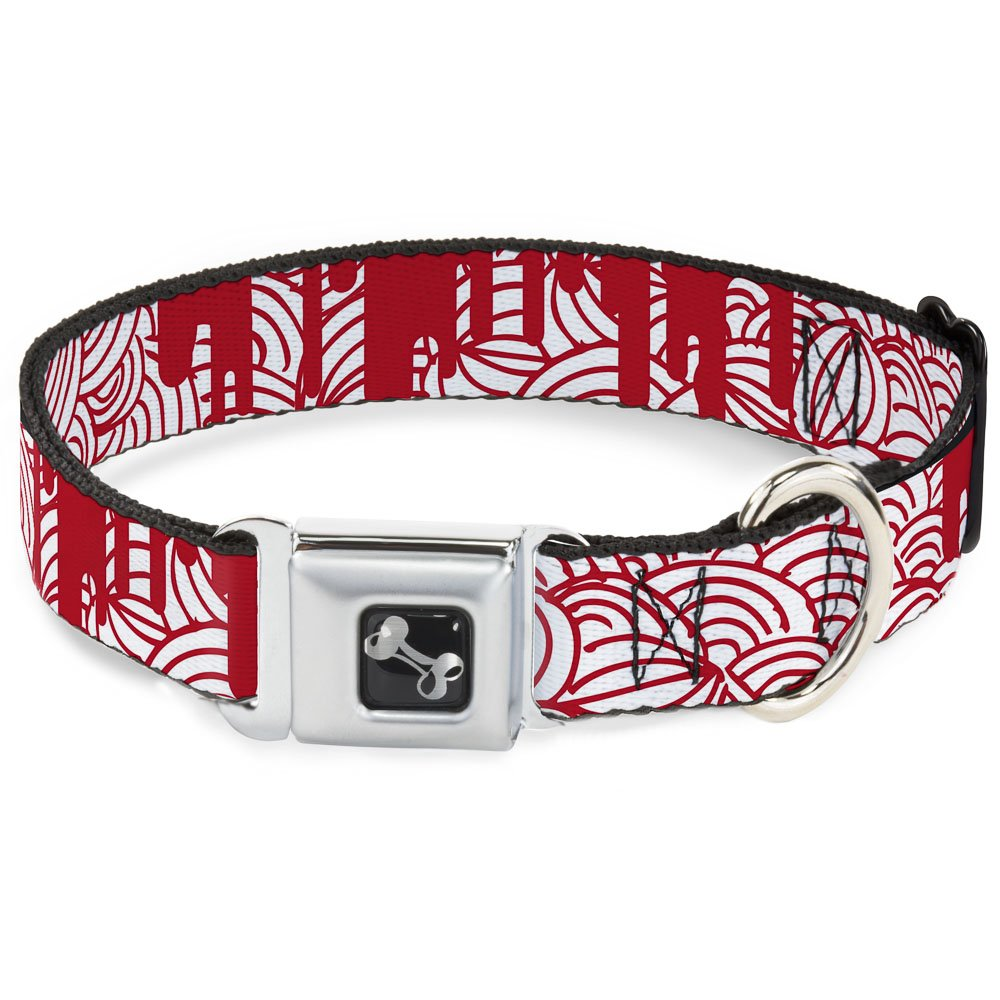 Buckle-Down 11-17  Doodle1 Paint Drips White Red Dog Collar Bone, Medium