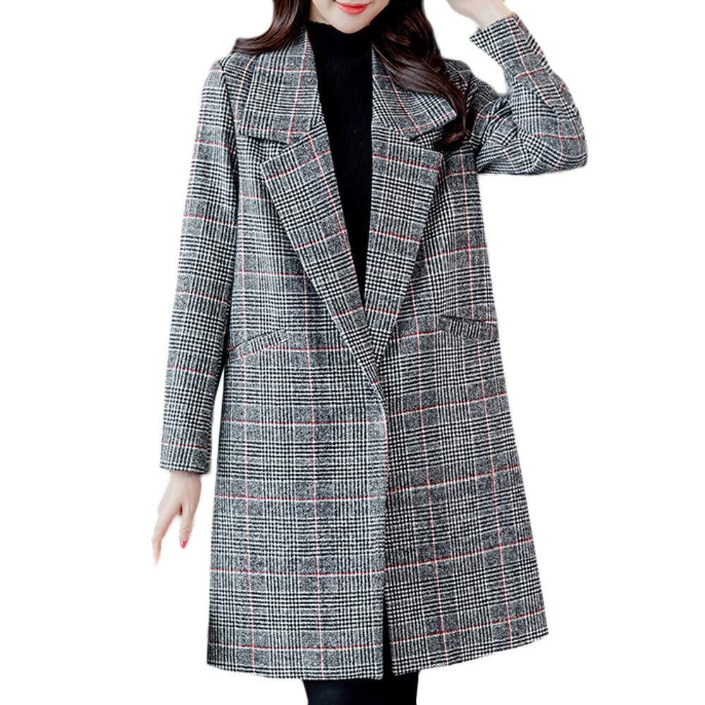 Linlink Mujeres Invierno Caliente Outwear de Moda a Cuadros Vintage Invierno cálido botón de Manga Larga Chaqueta de Lana Abrigo: Amazon.es: Ropa y ...