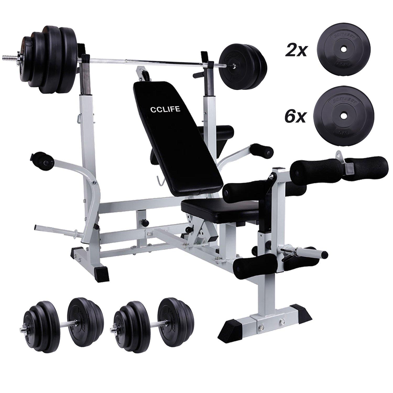 Cclife Multifunction Workout Station Set With 135kg Dumbbell