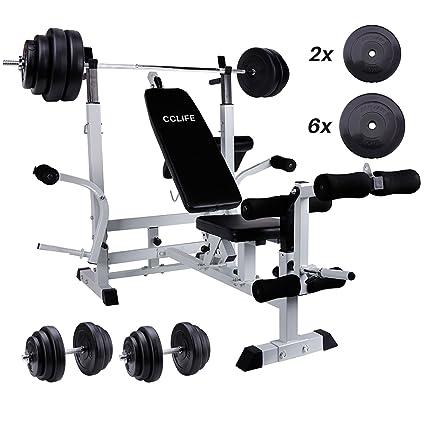 cclife multifunción fuerza Station con 120 kg Pesas Set – Banco de entrenamiento Fuerza Station Press
