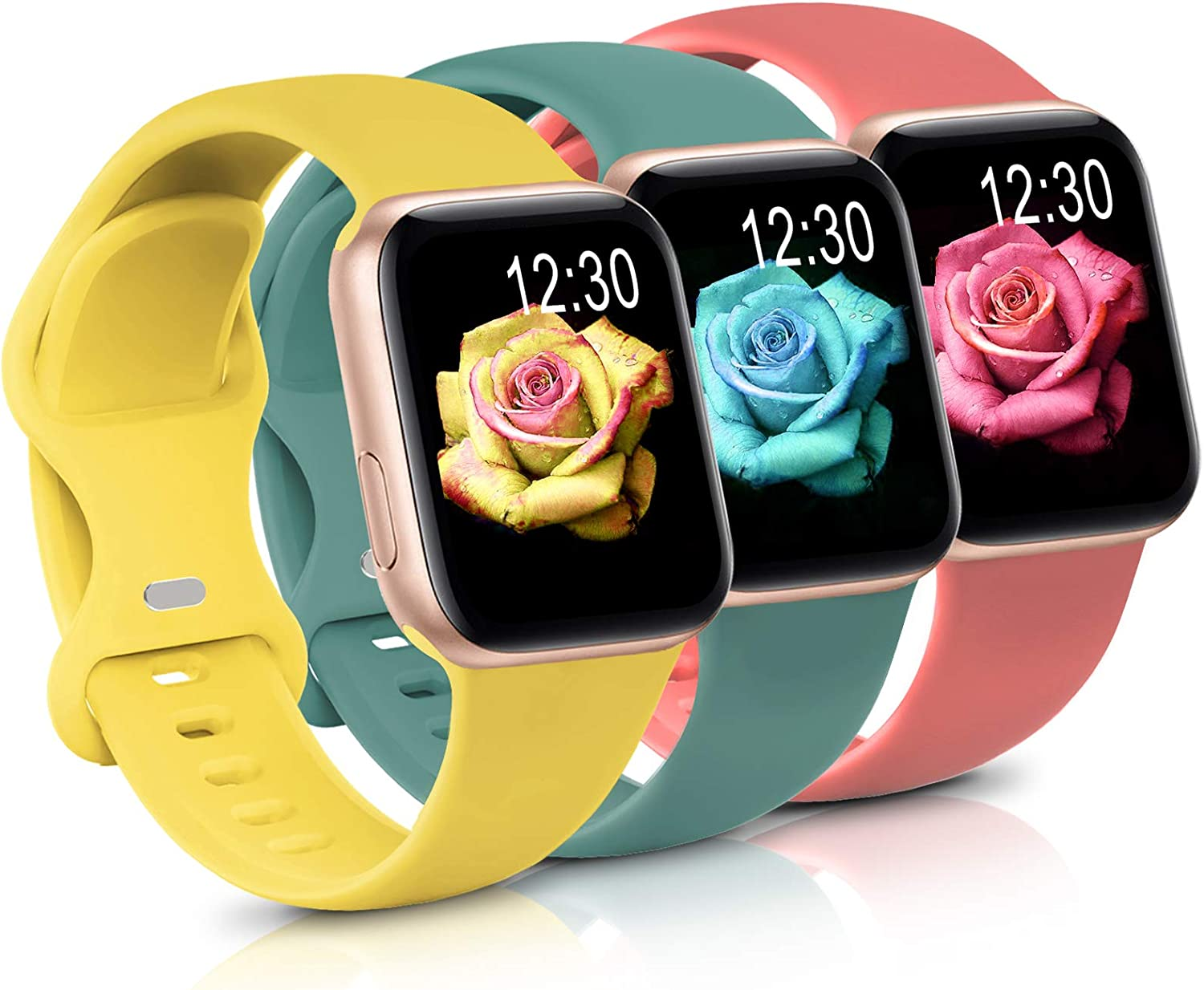 Sport Band Compatible with Apple Watch iWatch Bands 38mm 40mm,Soft Silicone Strap Wristbands for Apple Watch Series 3 6 5 4 2 1 SE Women Men Pack 3,Rose/Cactus/Yellow,38/40mm,S/M