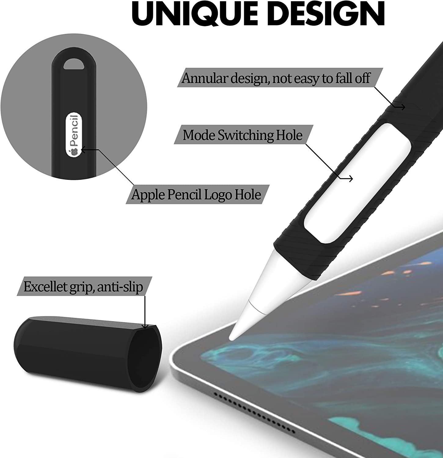 Ultra-Thin Anti-Slip Protective Silicone Pencil Holder Sleeve for Apple Pencil 2nd Generation BELKA Apple Pencil 2nd Generation Case for iPad Pro 12.9 2018 /& iPad Pro 11 2018 Black