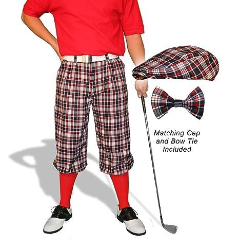 b7ed1dc9c8c Amazon.com   Golf Knickers Plaid and Cap  Mens  Par 5  - Old English ...