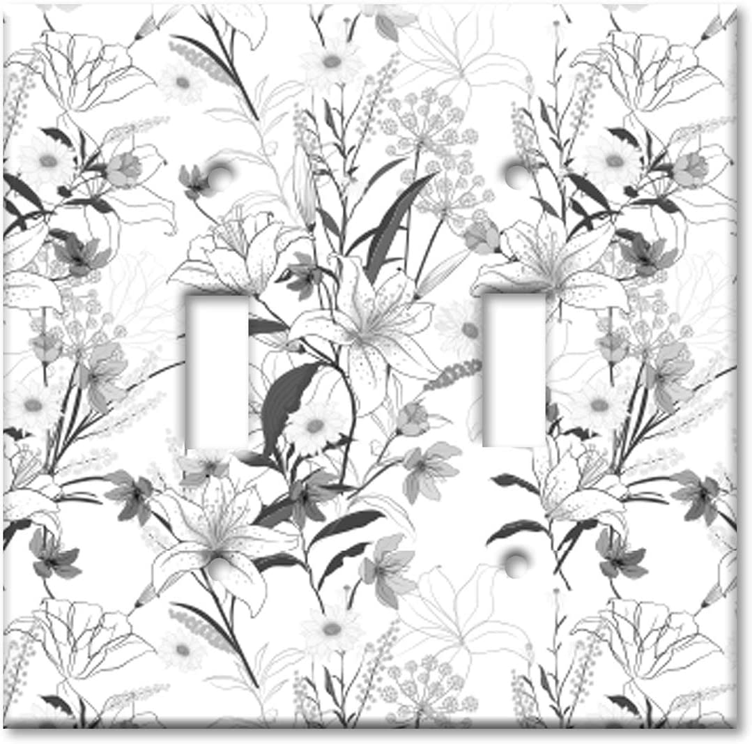 Art Plates 2 Gang Toggle Wall Plate - Grayscale Floral Line Art