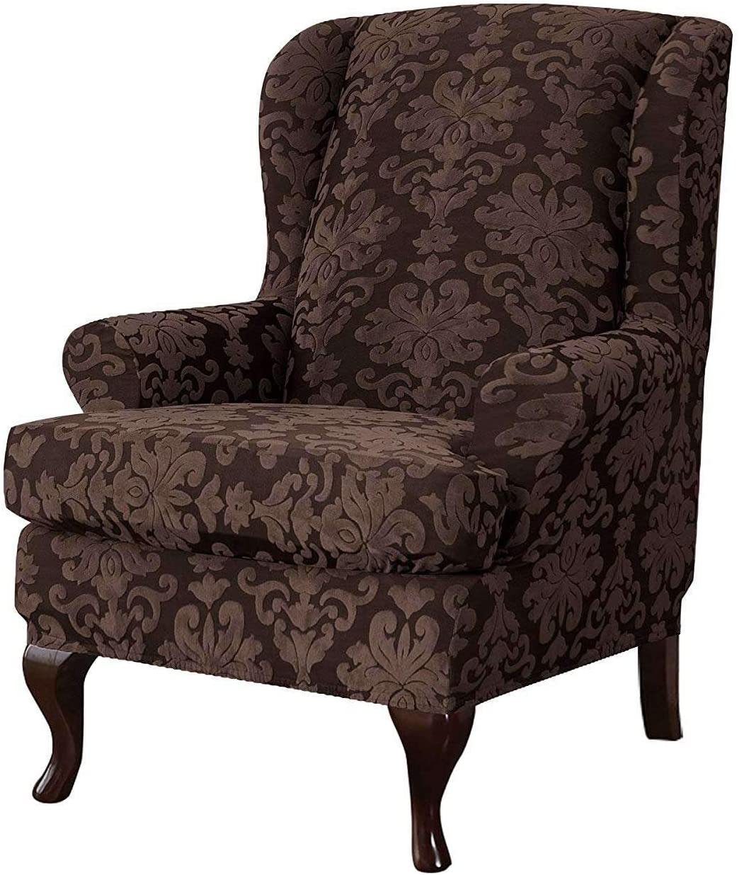 MO&SU Stretch Wingback Chair Sofa Slipcover, 2-Pieces Jacquard Sofa Cover Wing Chair Furniture Protector Couch Covers for Wing Back Armchair-(Sofa Cover+Cushion Cover)-Deep Coffee