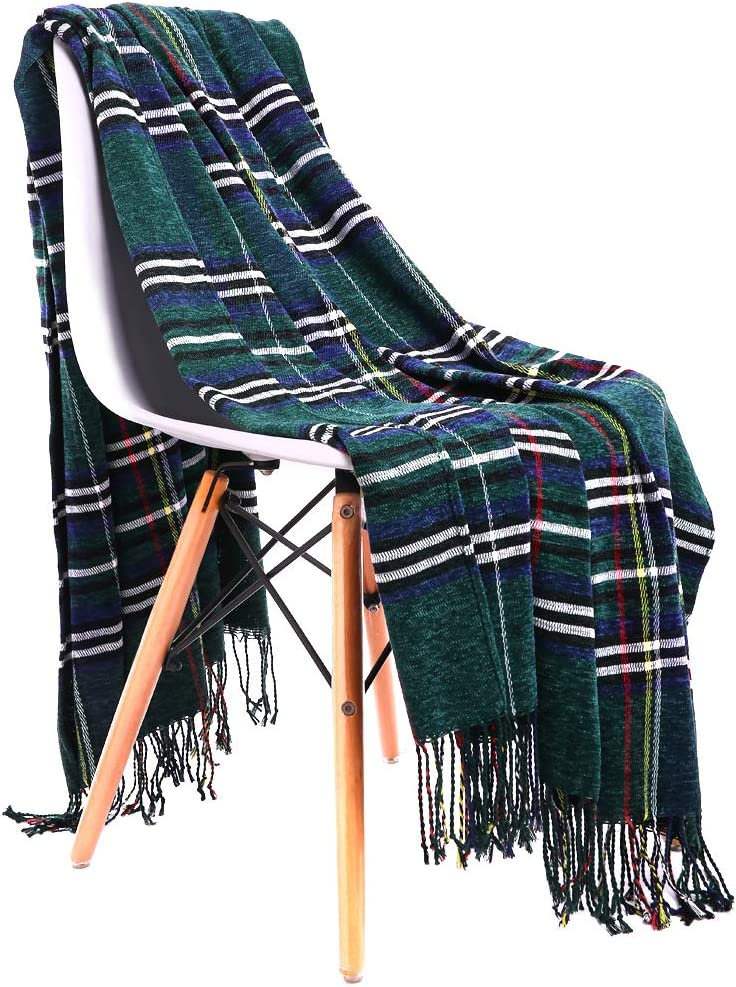 """JUDYBRIDAL Plaid Chenille Throw Blanket Extra Soft Blanket All-Season Dual-Sided Home Decor Blankets with 3 Inches Tassels for Bed Sofa Couch Chair 50"""" W x 67"""" L Multi-Colored(Green)"""
