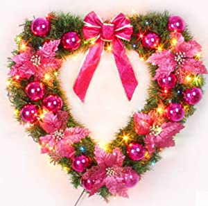 Sweet Spring Water 17 Inch Wall Hanging Christmas Wreath Heart-Shape Battery Operated Garland for Wedding Home Decor (Rose Red)
