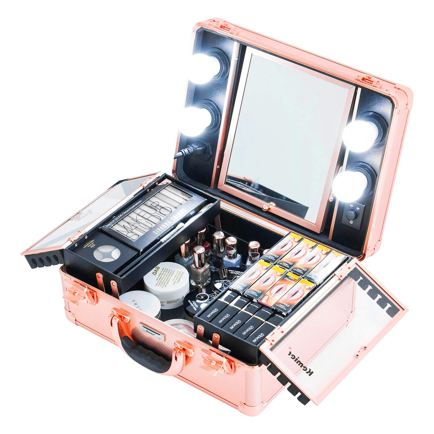 Kemier Makeup Train Case - Cosmetic Organizer Box Makeup Case with Lights and Mirror/Makeup Case with Customized Dividers/Large Makeup Artist Organizer Kit (Rose Gold) by Kemier