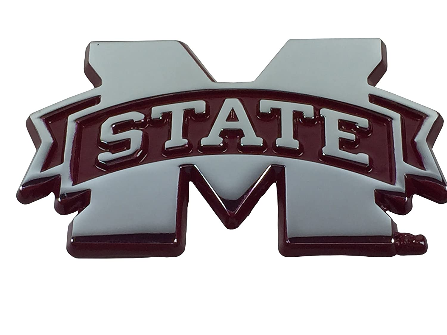 Mississippi State METAL Auto Emblem with Maroon Trim AMG