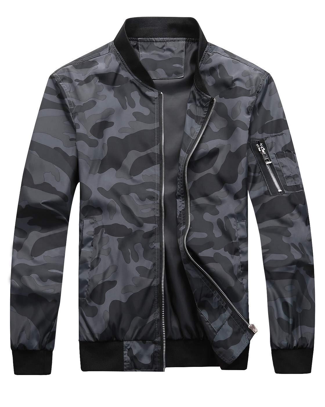 Fairylinks Bomber Jacket Men Camo Print Outwear, Black, X-Large by Fairylinks