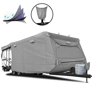 "RVMasking 5-ply Top Travel Trailer RV Cover, Fits 28'7"" - 31'6"" RVs - Breathable Waterproof Anti-UV Ripstop Camper Cover with 15 PCS Windproof Buckles & Tongue Jack Cover"