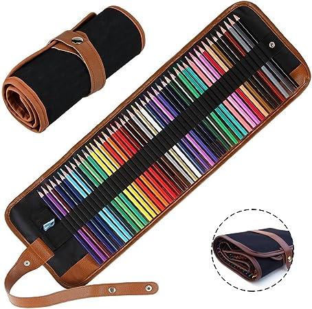 48 lápices de colores con estuche enrollable Set de lápices solubles en agua para niños dibujar adultos secreto jardín colorear libros artista pintura: Amazon.es: Hogar