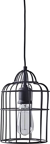 Stone Beam Cage Ceiling Pendant Light Fixture with Light Bulb – 6.5 Inch Shade, 12 – 62 Inch Cord, Oil-Rubbed Bronze