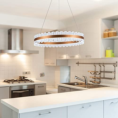 WELAKI Modern LED Crystal Chandelier Pendant Lighting
