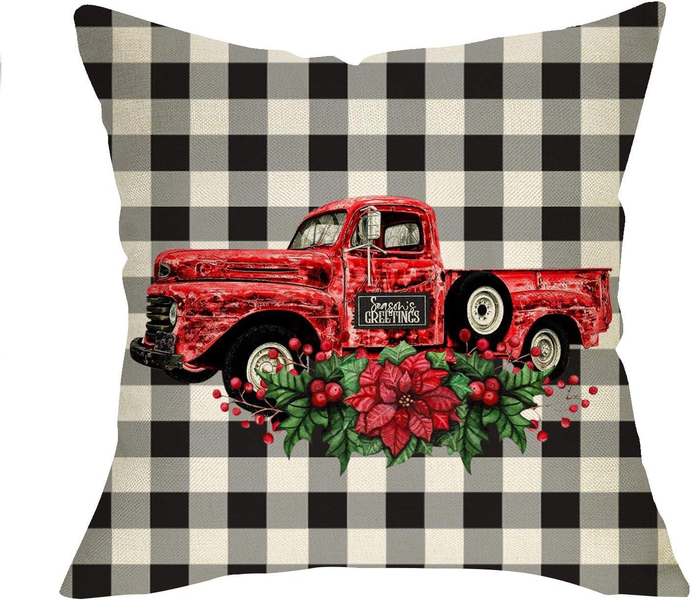 Seasonal Home Decor 18 x 18 Buffalo Check Plaid Vintage Red Truck Christmas Pillow Cover- Farm Fresh Christmas Pillow Throw Pillow